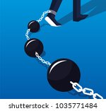 businessman's legs tied to a... | Shutterstock .eps vector #1035771484