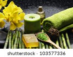 spa and wellness green towels ... | Shutterstock . vector #103577336