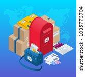 isometric concept post office ... | Shutterstock .eps vector #1035773704