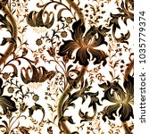 colorful floral seamless vector ... | Shutterstock .eps vector #1035779374