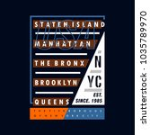 nyc line typography for tee... | Shutterstock .eps vector #1035789970