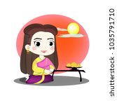 cultural thai woman in... | Shutterstock .eps vector #1035791710