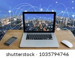 labtop and city scape and...   Shutterstock . vector #1035794746