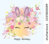 vector illustration with bunny... | Shutterstock .eps vector #1035800089