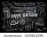 happy birthday background. hand ... | Shutterstock .eps vector #1035812290