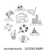 world traveling doodle | Shutterstock .eps vector #1035819889