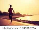 sporty fitness woman running on ... | Shutterstock . vector #1035828766