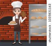 female baker holding loaf  | Shutterstock .eps vector #1035831163