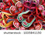 embroidered children's shoes... | Shutterstock . vector #1035841150