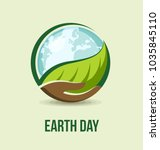 earth day concept. hand holding ... | Shutterstock .eps vector #1035845110