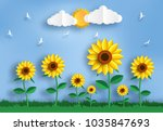 paper art style of sunflower... | Shutterstock .eps vector #1035847693