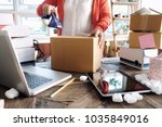 online small business owner. | Shutterstock . vector #1035849016