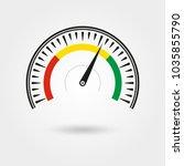 speedometer icon set. gauge and ... | Shutterstock .eps vector #1035855790