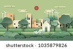 green eco friendly city and... | Shutterstock .eps vector #1035879826