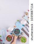 easter spring decorative... | Shutterstock . vector #1035887116
