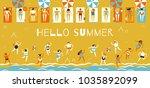 men and women in bathing suits... | Shutterstock .eps vector #1035892099