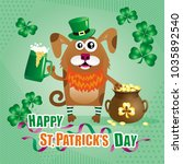 humorous greeting card for st.... | Shutterstock .eps vector #1035892540