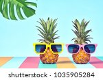 two hipster fruits in trendy... | Shutterstock . vector #1035905284