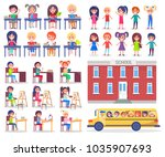 children during lessons sit at... | Shutterstock . vector #1035907693