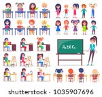 isolated student sitting at... | Shutterstock . vector #1035907696