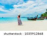 summer fashion lifestyle... | Shutterstock . vector #1035912868