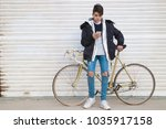 young urban fashion with bike...   Shutterstock . vector #1035917158