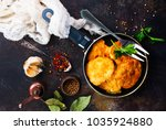 chicken pancakes with spice ... | Shutterstock . vector #1035924880