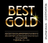 vector shiny best gold alphabet.... | Shutterstock .eps vector #1035934936