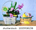 colorful eggs and spring flowers   Shutterstock . vector #1035938158