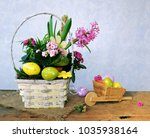 colorful eggs and spring flowers   Shutterstock . vector #1035938164