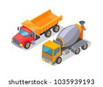 cement mixer and lorry poster...   Shutterstock .eps vector #1035939193