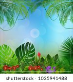 tropical jungle background with ... | Shutterstock .eps vector #1035941488