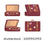 leather vintage suitcases set... | Shutterstock .eps vector #1035941953