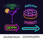 cocktails bar and donut set ... | Shutterstock .eps vector #1035942094