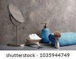 shaving accessories for man on... | Shutterstock . vector #1035944749