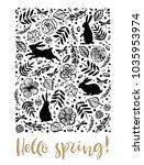 hello spring. running  sitting... | Shutterstock .eps vector #1035953974