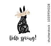 hello spring. sitting... | Shutterstock .eps vector #1035954328
