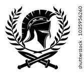 spartan helmet and swords with... | Shutterstock .eps vector #1035956260
