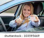 attractive young woman proudly... | Shutterstock . vector #103595669
