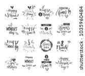 happy women day lettering set... | Shutterstock .eps vector #1035960484