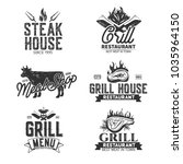 bbq retro labels isolated on... | Shutterstock .eps vector #1035964150