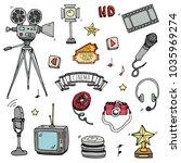 hand drawn doodle cinema set.... | Shutterstock .eps vector #1035969274
