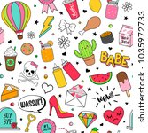 cute funny doodles seamless... | Shutterstock .eps vector #1035972733