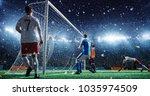 soccer game moment  on... | Shutterstock . vector #1035974509