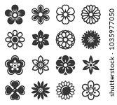flower icons set on white... | Shutterstock . vector #1035977050