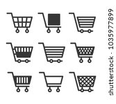 shopping cart icons set on... | Shutterstock . vector #1035977899