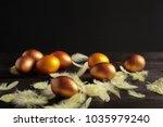 happy easter  easter eggs on... | Shutterstock . vector #1035979240
