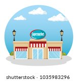 supermarket building scene icon | Shutterstock .eps vector #1035983296