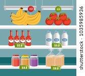 supermarket groceries in... | Shutterstock .eps vector #1035985936