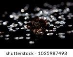 golden wedding rings for bride... | Shutterstock . vector #1035987493